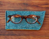 Green Tweed Glasses Case - Soft Eyeglass Sunglasses Case Made From Vintage Fabric - Green Tweed and Mustard Corduroy