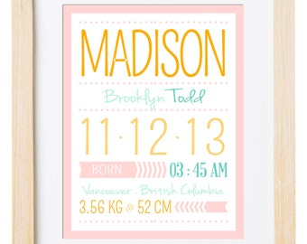 Digital Printable Birth Announcement Print - Birth Announcement Wall Art - Birth Stats Print - Nursery Wall Art