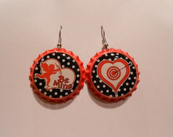 Valentine's day bottle cap earring