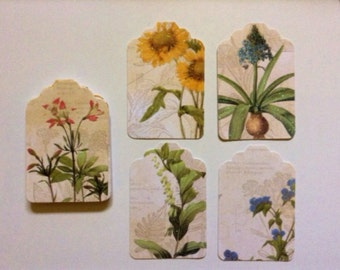 20 cardboard label with leaves and flowers, 5x7 cm