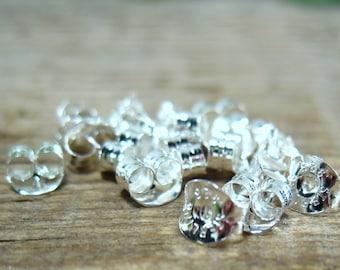 Sterling Silver Earring Backs Medium 25 pcs R1102 - Ear Nut, Earring Backs, Silver Ear Backs, Stud Backs, Post Backs, DIY Jewelry, Wholesale