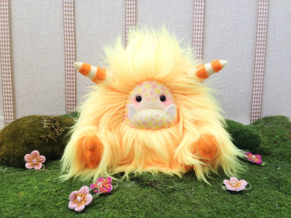 "Yeti plush toy, monster plush, artist bear, yellow and orange faux fur and felt yeti, ""Saffron"""