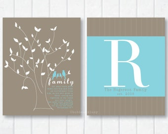 Personalized Family Print Set with Scripture, Birdies and Tree