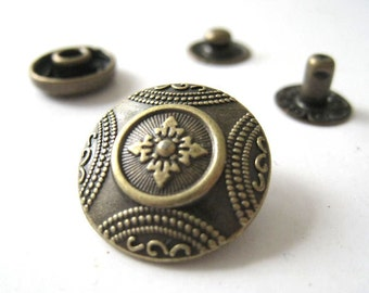 17 mm Antique Bronze Brass Embossed Open Ring Snap Fastener Snap Button – Pack of 6sets