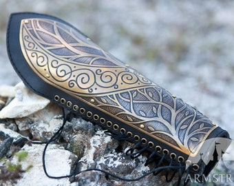 20% DISCOUNT! Medieval Elven Archery Bracer Arm Guard etched lightweight armor leather and metal