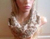Ooak unique womens designer lace effect hand knit/crocheted oatmeal,cream brown,green,cowl,scarf,infinity neckwarmer