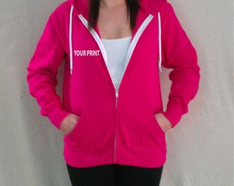 Custom Embroidery Hoodie Pink and White