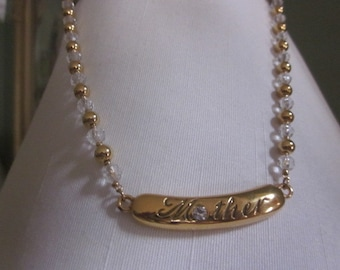 "Vintage Monet ""MOTHER"" Gold and Rhinestone Beaded Necklace, Mother's Day Gift, New Mom, Birthday Gift"