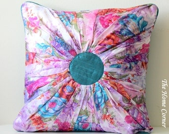 Flower Pillow, Colorful Floral Pillow, Spring Pillow, Teal Blue Green Purple Orange Pink Satin Pillow, Pin-tuck Cushion, 16x16- KALEIDOSCOPE