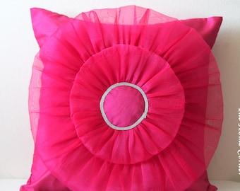 Fuchsia Pink Pillow, Pink Throw Pillow, Pink Pillow Cover, Decorative Pillows, 16x16 pillows, Accent Pillow, Pinwheel Pattern, Pink Decor