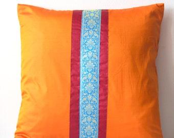 Decorative Throw Pillow, Indian Sari Pillow Cover, Throw Pillow, Cushion Cover, Mustard Gold Orange, 18x18, Home Decor- 'Sunrise'
