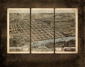 """Vintage Knoxville METAL map Triptych 36x24"""" FREE SHIPPING"""