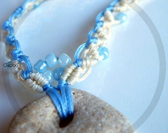 Adder Stone Hand Knotted Macrame Necklace - Natural Sand Stone Blue Beads OOAK