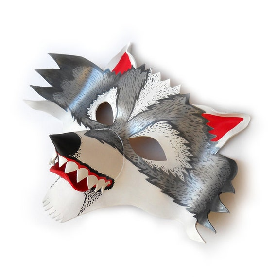 Wolf Leather Halloween Mask Animal Big Bad Wolf White Grey Masks Kids Costume Children Adult Silver Party Mardi Gras Masquerade Earth Day