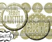 Instant Download Bottle Cap Image Sheet - Girl Scout Cadette - 1 inch Circles