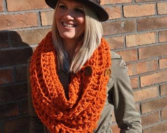 SALE Crochet Infinity Scarf Chunky Orange Cowl