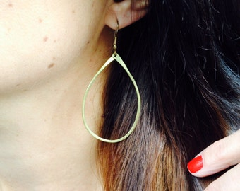 Perfect Pear Earrings / Handmade / brass hoops / everyday jewelry