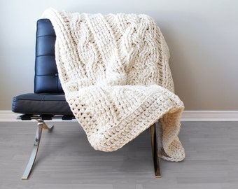 """DIY Crochet PATTERN - Throw Blanket / Rug Super Chunky Double Cable Approximately 45"""" x 60"""" (blanket007)"""