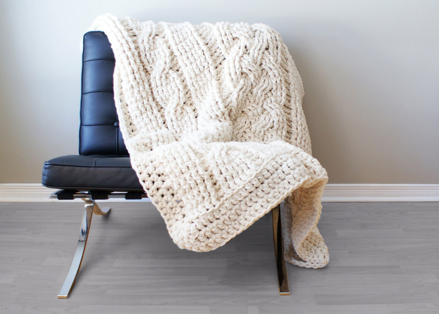 DIY Crochet PATTERN Throw Blanket / Rug Super Chunky Double