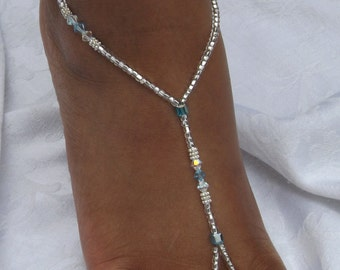 Blue Beach Wedding Barefoot Sandal Crystal Barefoot Sandal Foot Jewelry Anklet Wedding Bridal Accessories Bridesmaids Gift