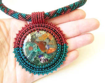 Bead Embroidery Pendant Necklace - Yin and Yang - Pyrite multi color Picasso Jasper with Fluorite - red, emerald