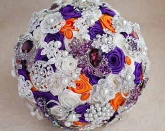 Brooch bouquet. Purple, Ivory and Orange wedding brooch bouquet, Jeweled Bouquet.