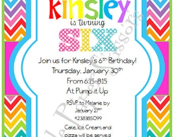 Colorful chevron birthday invitation