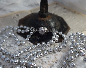Vintage Jewelry Faux Metal SILVER PLASTIC Multi Strand Faceted Bead NECKLACE Long Sparkling Holiday Light Reflecting