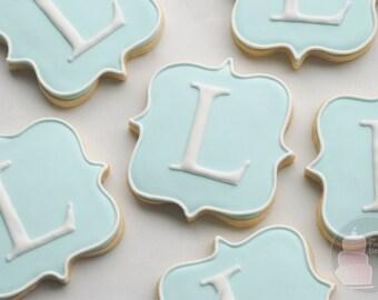 Elegant Square Plaque Large Monogram Cookies - One Dozen Decorated Cookies
