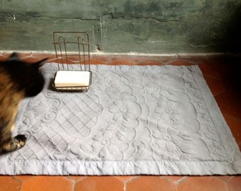 """Bath mat, """"re-made in Italy"""" from vintage pique and linen fabric, beautiful medium grey"""