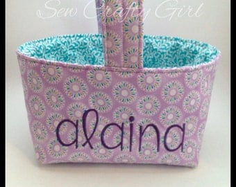 Embroidered & Personalized Fabric Easter Basket