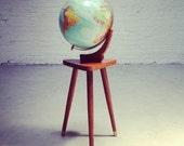Mid Century Modern Eames Vernco Gunstock Raised Globe & Walnut Stand