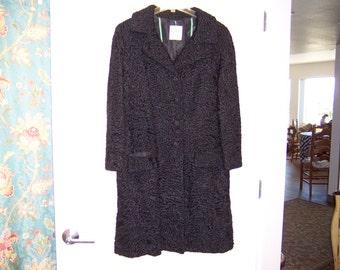KARAKUL COAT Black Persian Lamb Paulini New York from the Higbee Fur Salon