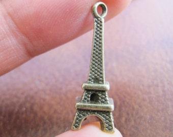 30pcs 8x23mm Antique Bronze Lovely 3D Eiffel Tower Charm Pendant Jewelry Supplies A1033-14B
