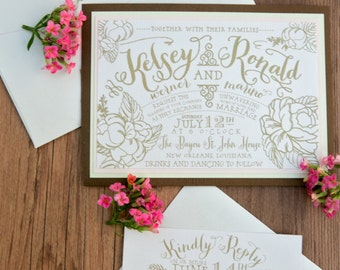 Gold Art Deco Wedding Invitation Great Gatsby by SuitePaper