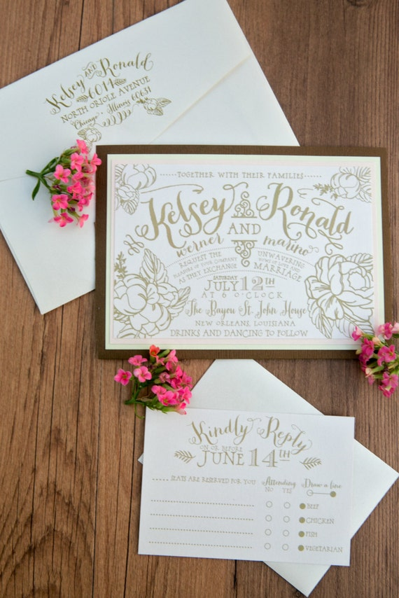 Garden Wedding Invitation, Gold Garden Wedding Invitation, Vintage Wedding Invitation, Modern Wedding Invitation, Vintage Gold Wedding