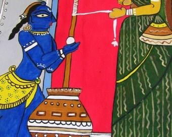 Krishna with mother Yashoda- on silk