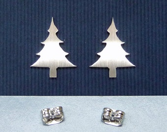 aA 925 sterling silver christmas tree ear studs, christmas gift, winter jewelry, simple jewelry