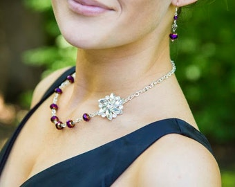 Purple Bridesmaid Jewelry-Bridesmaid Gift-Purple Necklace-Wedding Jewelry-Plum Jewelry-Purple Jewelry-Bridesmaid Jewelry