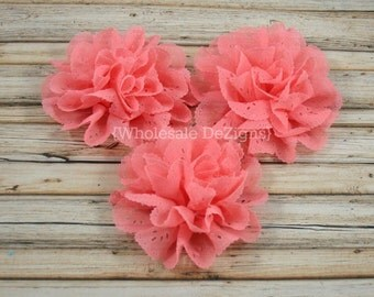 "Coral Chiffon Eyelet Flower - 3.5"" - DIY Headband Flowers DIY Supplies - Peach Embellishment  - 3 Flowers"