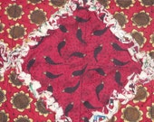 "Primitive Red Crows & Sunflowers Rag Quilt Table Runner~14""W x 28-1/2""L~Summer"