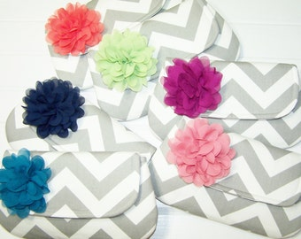 Bridesmaid Set - Chevron Clutch with Chiffon Flower  - - Wedding Clutch - Bridesmaid Clutch