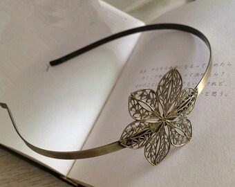 2pcs 44x44mm Floral headband  Antique Bronze Filigree metal Headband