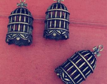 5pieces 41mmx18mm birdcage pendant-  antique bronze charm pendant Jewelry Findings charm