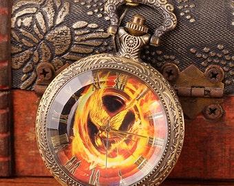 1pcs 48mmx48mm Bronze Bird Glass Cover pocket watch charms pendant