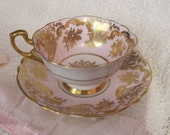 PARAGON England CUP & SAUCER Pink Gold Trim Ornate Collectible