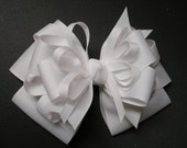 Solid You Pick Color Large Back to School Hair Bow Toddler to Big Girl Boutique Uniform Plain White