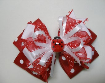 CUTE as a BUG Large Red Lady Bug Hair Bow Toddler to Big Girl Summer Boutique Accessory