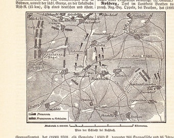 1898 Battle of Rossbach 1757 Saxony during the Seven Years' War Original Antique Map Print