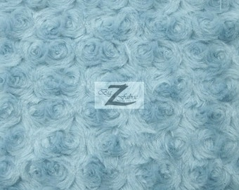 """Rose/Rosette Minky Cuddle Fabric - BABY BLUE - 58/60"""" Wide By The Yard Baby Soft Blanket Crafts Decor"""